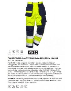 Mocne spodnie robocze ostrzegawcze, olejoodporne Hi-Vis 2050 PLU TH Fristads Kansas